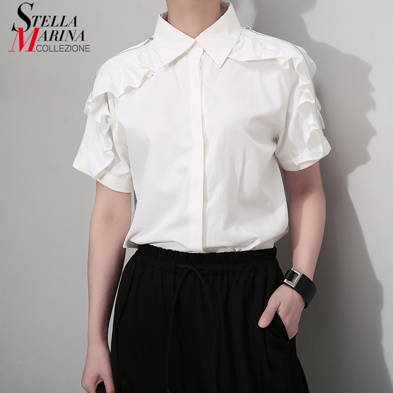 2019 Korean Style Women Summer Solid White Casual   Blouse     Shirt   Shoulder With Zipper Ruffle Lady Unique Wear   Blouses   chemise 5098