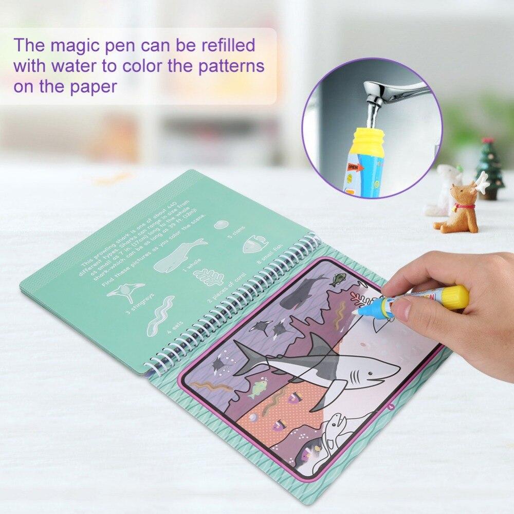 Magic Water Drawing Book 2 Pen Water Cloth Coloring Board Doodle