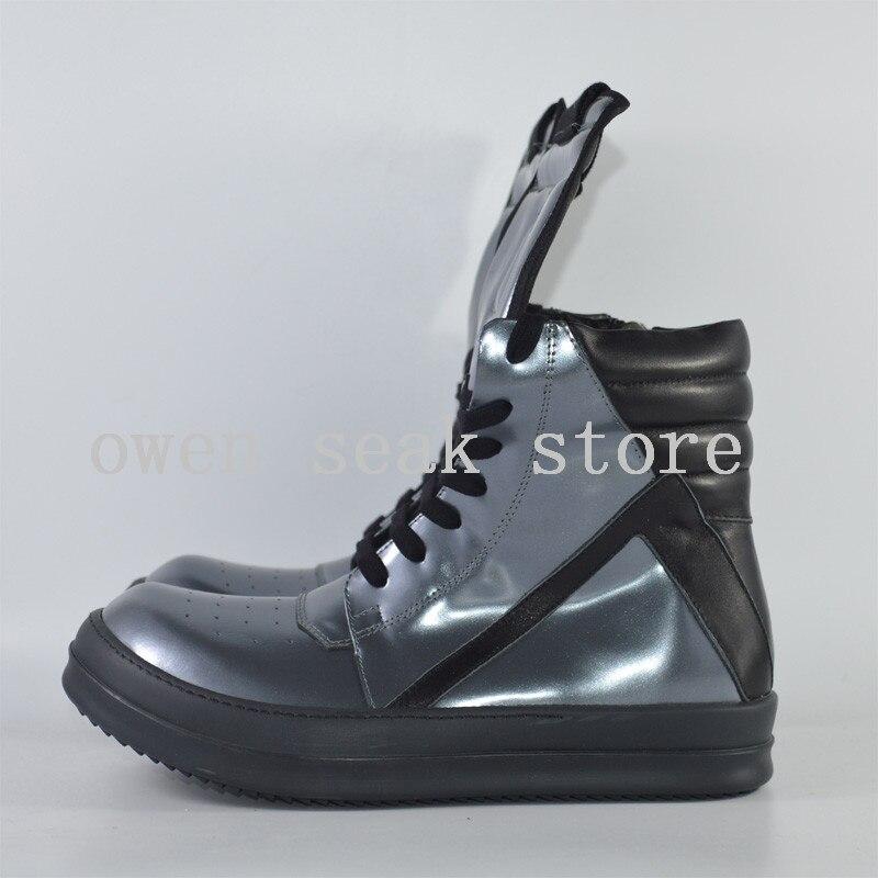 Owen Seak Mannen Schoenen High TOP Enkellaarsjes Echt Leer Sneaker Luxe Trainers Laarzen Casual Lace up Zip platte Zilveren Grote Schoenen op  Groep 3