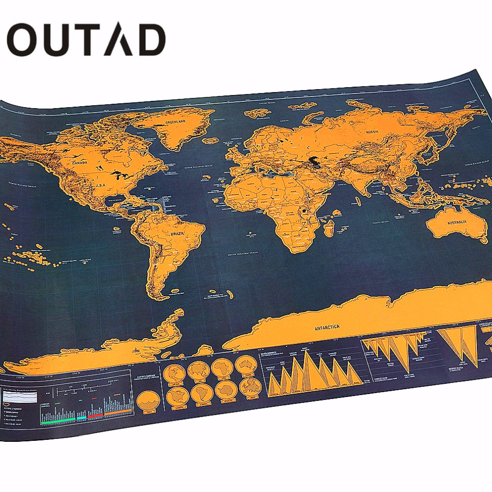 OUTAD raspe Mapas de Viagem Portátil Férias Poster Traveler Log Presente Folha de Camada de Revestimento Personalizado Mapa Do Mundo o Transporte Da Gota