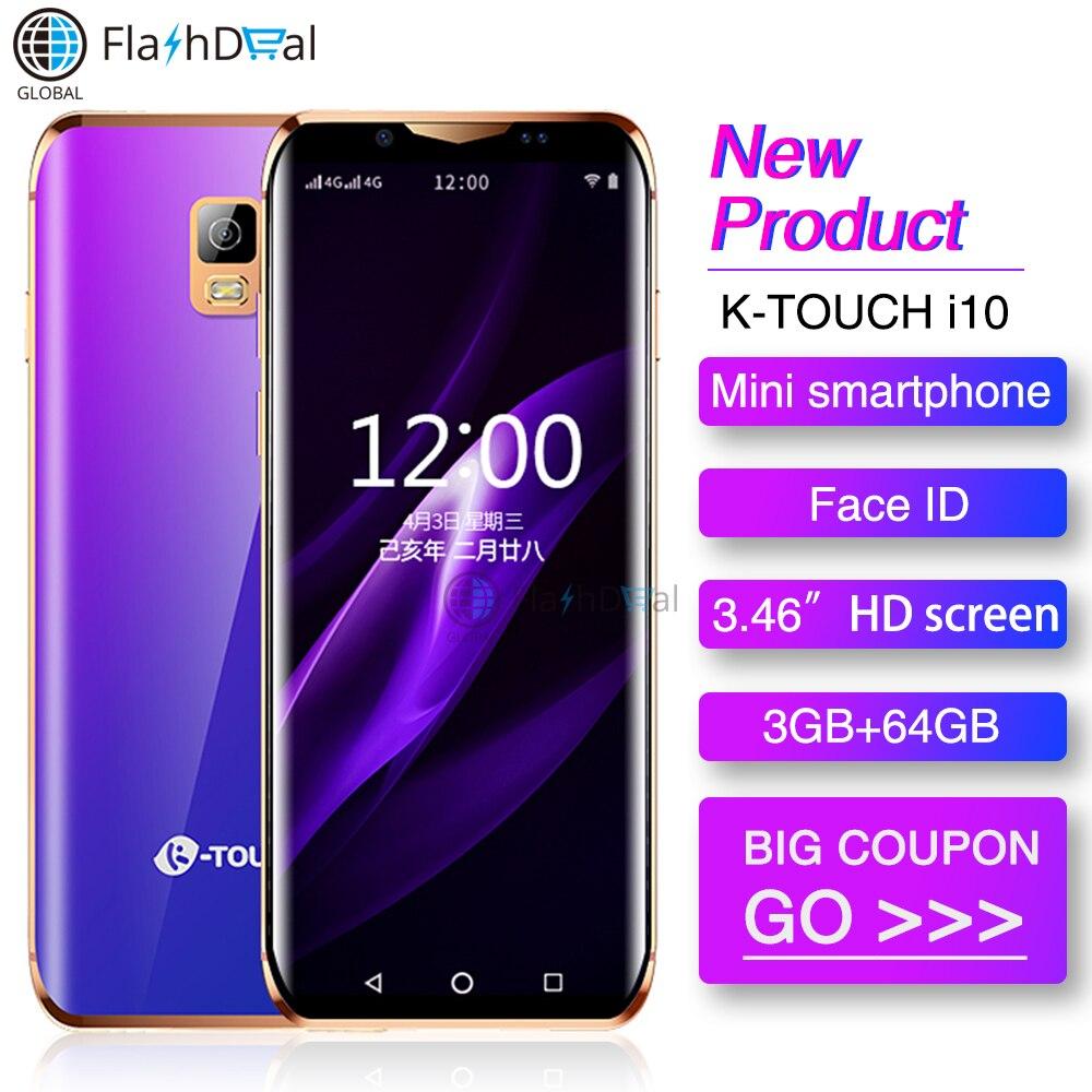 Mini Smartphone K-Toque i10 Quad Core 3 GB GB 3.46 Polegada 64 6D Vidro Curvo Tela Android 8.1 face ID WI-FI Menor 4G de Smartphones