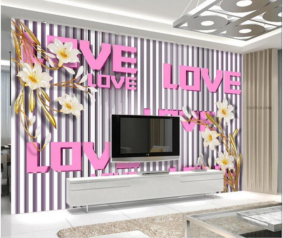 Benutzerdefinierte 3d Wallpaper Orchidee Farbe Carving TV Hintergrund Wall Fototapeten Wohnzimmer WallpaperChina