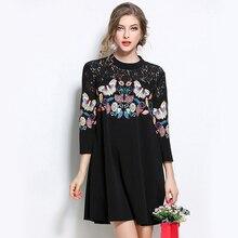Spring New 2019 fashion Autumn Women dress flower printed Cotton round neck Dresses three-quarter sleeve butterfly Dress 890G