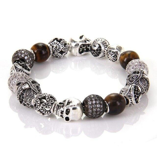 Thomas Style KM Bead Bracelet With Eagle Tiger's Eye OWL Maori Skull Beads, Karma Bracelet Rebel Heart Jewelry For Men TS KB539