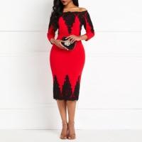 Red Dress Sale Women Three Quarter Sleeve Off Shoulder Lace Bodycon Dresses Office Lady Elegant Female Midi Dresses 2019 Summer