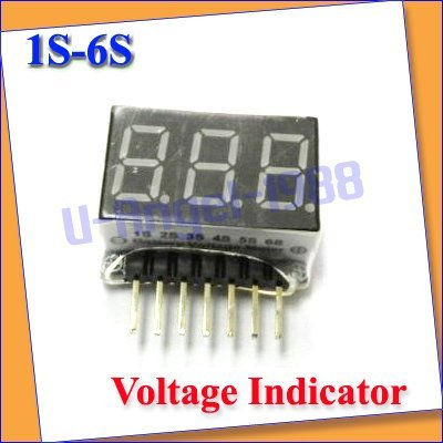 2pcs/lot 1S-6S LED Low Voltage Alarm Lipo Battery Indicator Checker Tester+free shipping