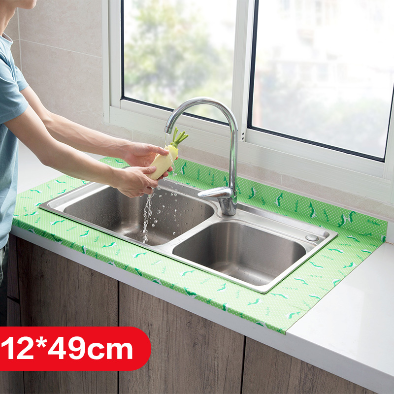 12x49cm Kitchen Adhesive Wall Stickers Sink Waterproof Stickers Antifouling Stickers Bathroom Vanity Glass Stickers