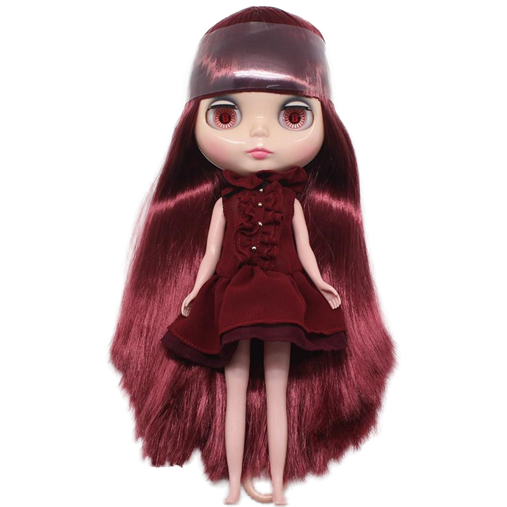 Fortune Days Nude Blyth doll No QY12532 Wine Red hair with bangs Flesh color skin Factory