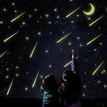 Fluorescent Romantic Meteor Shower Moon DIY Wall Stickers Night Glow in Dark Luminous Stars Kids Room Nursery Mural Decal