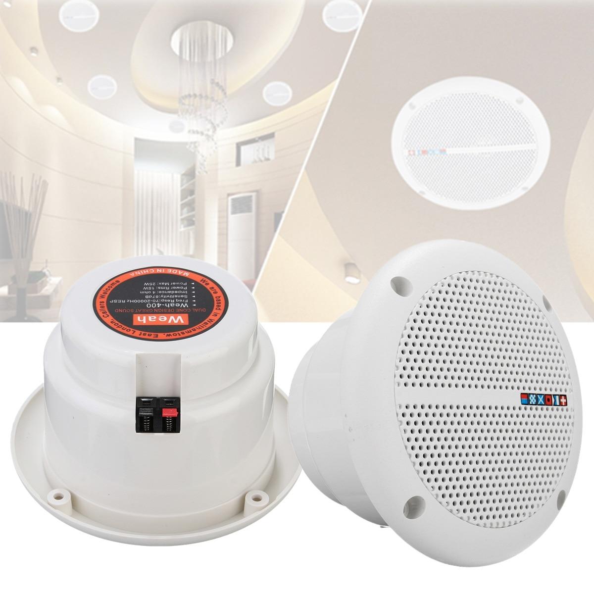 2X Waterproof 25W Full Range Ceiling Wall Speakers Loundspeaker Home Theater Bathroom Marine Boat Water Resistant Speaker