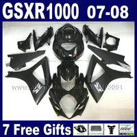 Мотоциклетный завод Обтекатели набор для Suzuki GSXR 1000 2007 GSXR 1000 2008 GSXR1000 08 K7 07 плоским глянцевый черный корпус обтекатель части