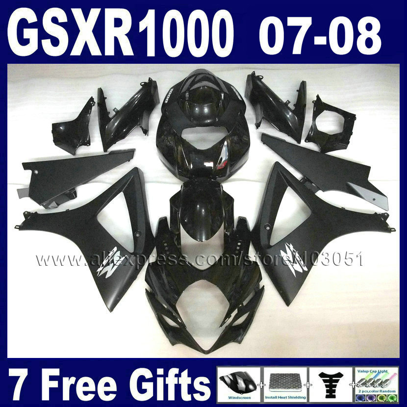 Factory motorcycle fairings set for SUZUKI GSXR 1000 2007 GSXR 1000 2008 GSXR1000 08 K7 07 flat glossy black body fairing parts