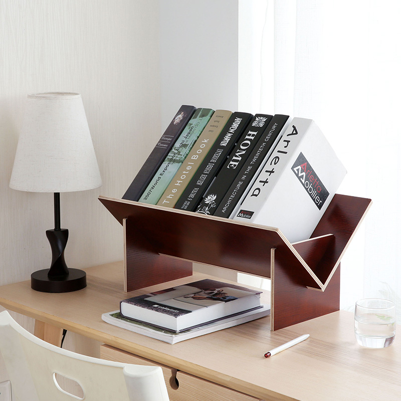 Solid Wood Embly Bookshelf Table Floor Small Bookcase Student Desktop Storage Shelves Simple Bookshelves P0356 Size As Shown Material