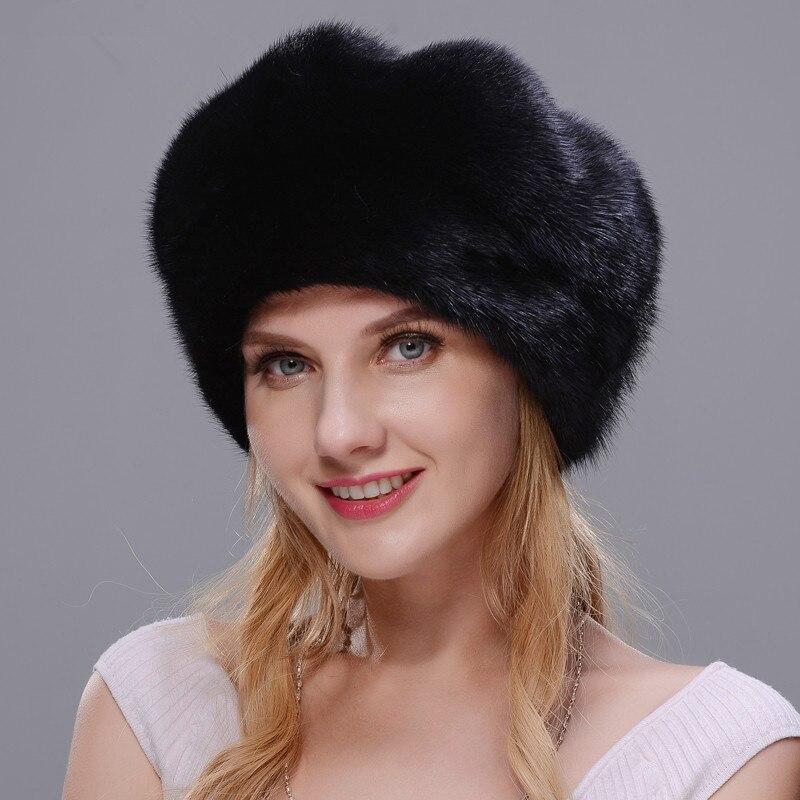 DENPAL Marke Neue Pelz Hut Stil Mantel Pelz Hut Reale Natürliche Schwarz Nerz Hut Für Frau Winter Warme Hut kappe Schutz Ohr - 5