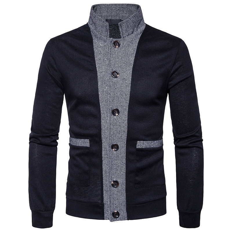 Men's Sweater  New Male Brand Casual Jersey Long Mens Cardigan Fake Two Piece Slim Fit Red XXL Homme Sweaters Men Knitwear