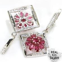 Real 7.7g 925 Solid Sterling Silver Deluxe Pink Raspberry Rhodolite Garnet CZ Earrings 42x24mm