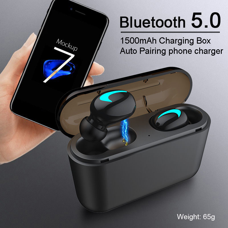 M&J TWS 5.0 Bluetooth headphone 3D stereo wireless earphone with mic IPX5 Waterproof Headset and power bank charging box 6