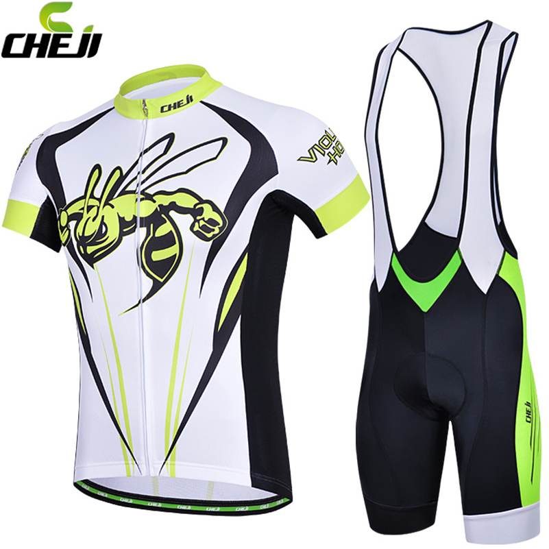 CHEJI 2017 Road MTB Bike Jersey Shorts Breathable Gel Pads Pro Cycling Clothing Sets Men Cycling Jersey Bib Shorts Pants