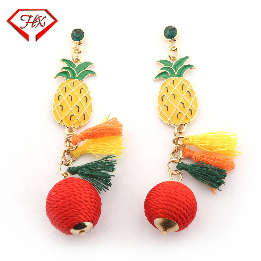 HX New Trend Fringe Stud Earrings Pineapple Earrings Womens Ball Wool Ball Earrings Hot  ...