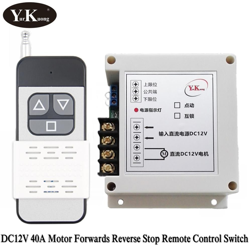 Motor Steering Wireless System DC 12V 40A RF Remote Control Switch System 400W Pump Tarpaulin Window Curtains RF Remote Switch