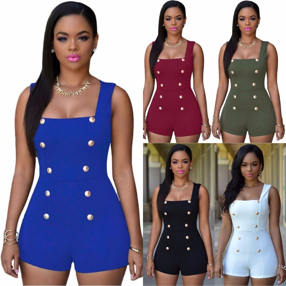 Gold Buttons Short Sleeveless Zip One Piece Bodysuit