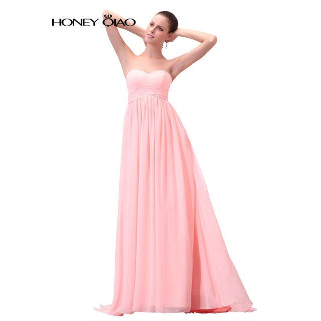 Miel Qiao Novia Sin Tirantes de Color Rosa Una Línea de Vestido de ...