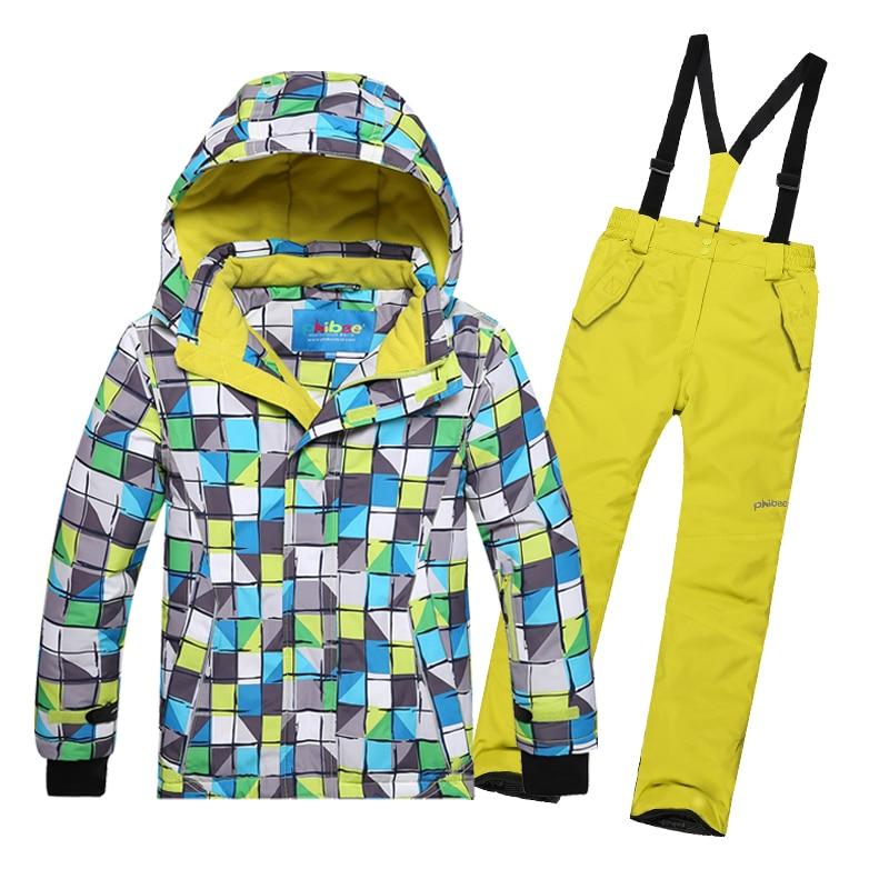 Phibee Kids Boys Ski Suit Russian Winter Sport Thick Warm Jacket And Pant Waterproof Snowboard Suit Children Winter Snow Sets