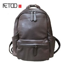 AETOO 2019 first layer cowhide female Korean version of the tide new casual fashion simple cowhide leather travel backpack