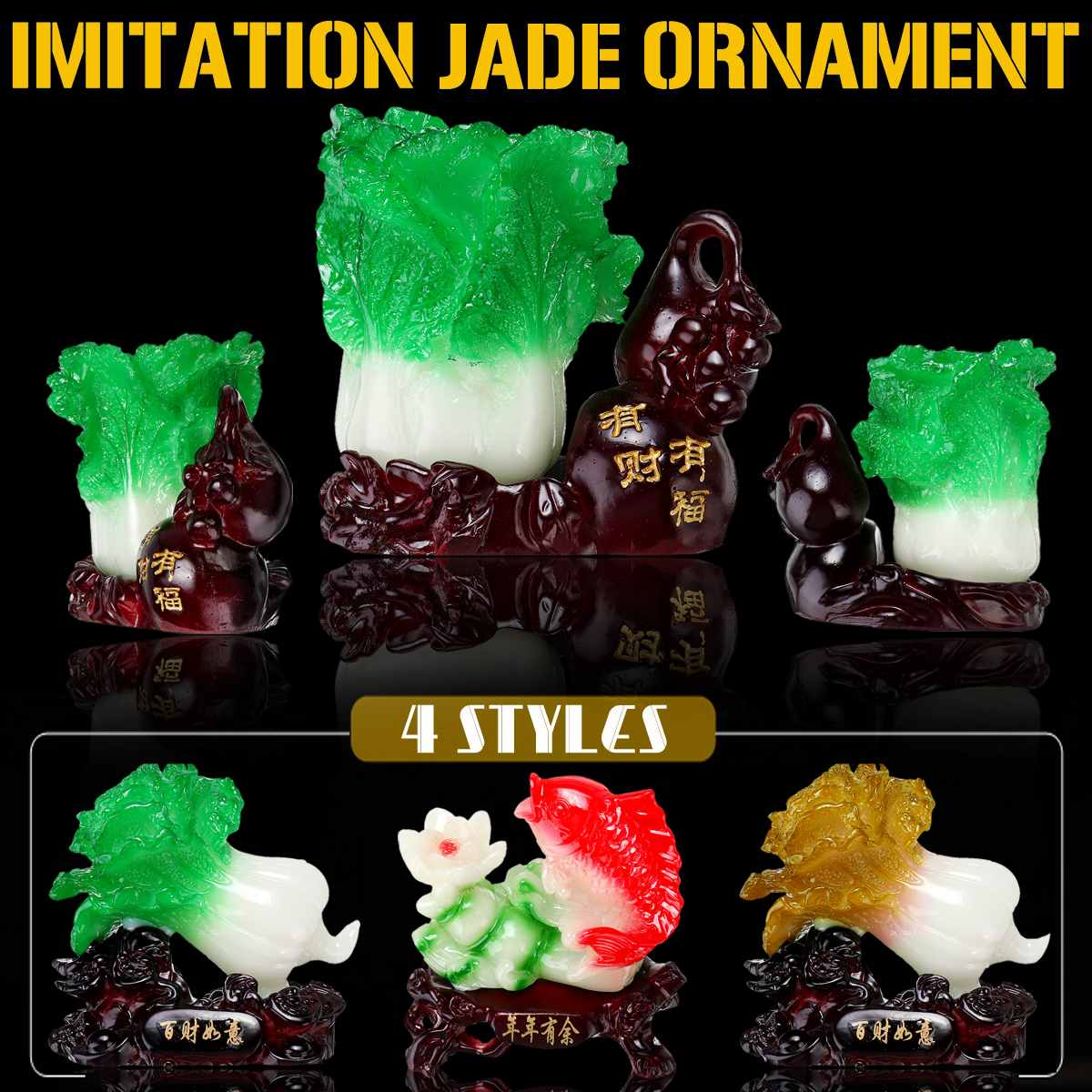 4 Styles Chinese Style Vegetable Cabbage Imitation Jade Ornaments Resin Home Bedroom Desk Decoration Birthday Gift