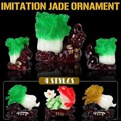 4 estilos Estilo Chinês Vegetal Repolho Imitação Jade Resina Ornamentos Quarto Casa Decoração da Mesa de Presente de Aniversário
