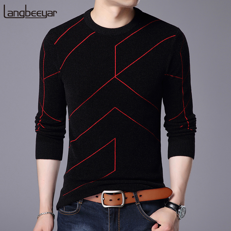 2019 New Autumn Winter Fashion Brand Clothing Pullover Mens Sweaters O Neck Slim Fit Breathable Solid Color Sweaters For Men