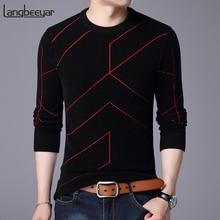Jerséis de marca a la moda para Otoño e Invierno para hombre, jerséis de hombre con cuello redondo, suéteres transpirables de Color sólido, 2020