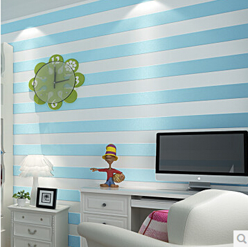 Blue Striped Wallpaper 3D Flocking for Kids Room Vertical Stripe Wall Paper Non-woven Bedroom Background Papel De Parede Coffee beibehang mediterranean blue striped 3d wallpaper non woven bedroom pink living room background wall papel de parede wall paper