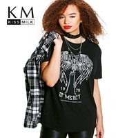 Kissmilk 2017 Big Size New Fashion Women Clothing Casual Letter Print Basic T Shirt O Neck