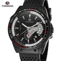 Forsining Mens Watch Top Brand Automatic Self Wind Movement Silicone Band Analog Skeleton Wristwatches Color Black