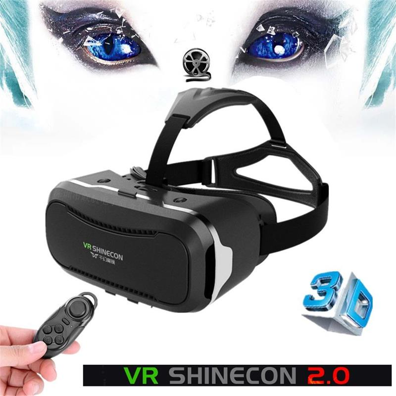 Hot! VR shinecon ii 2.0 Virtual Reality 3D Glasses Google Cardboard 2.0 Pro Version VR Glasses+Bluetooth Remote Control Gamepad