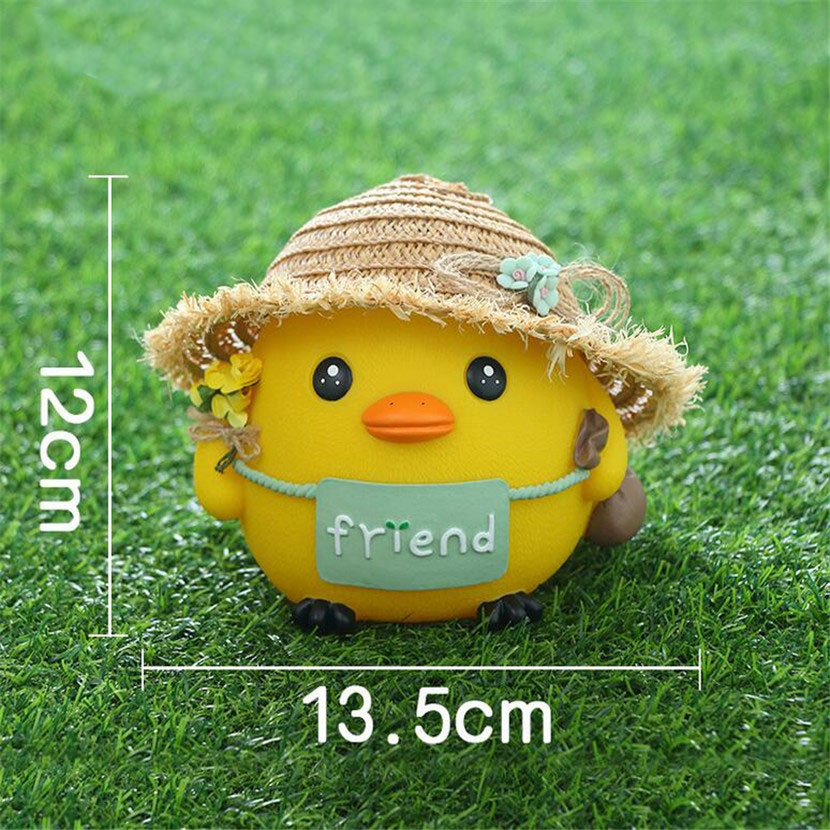 New Doll Chicken Piggy Bank Creative Child Gift Cartoon Grass Hat Chicken Barrier Deposit Money Tank explosion models money talks piggy bank creative gifts strange new children s toys tricky crafts decoration