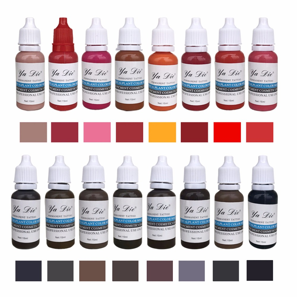 16 colors Permanent Makeup Micro pigments Set Tattoo Ink Cosmetic 15ml Kit For Tattoo Eyebrow Lip Make up Mixed color 7 colors permanent eyebrow lipstick microblading pigments paints ink for lip tattooing 15ml 1 2 oz