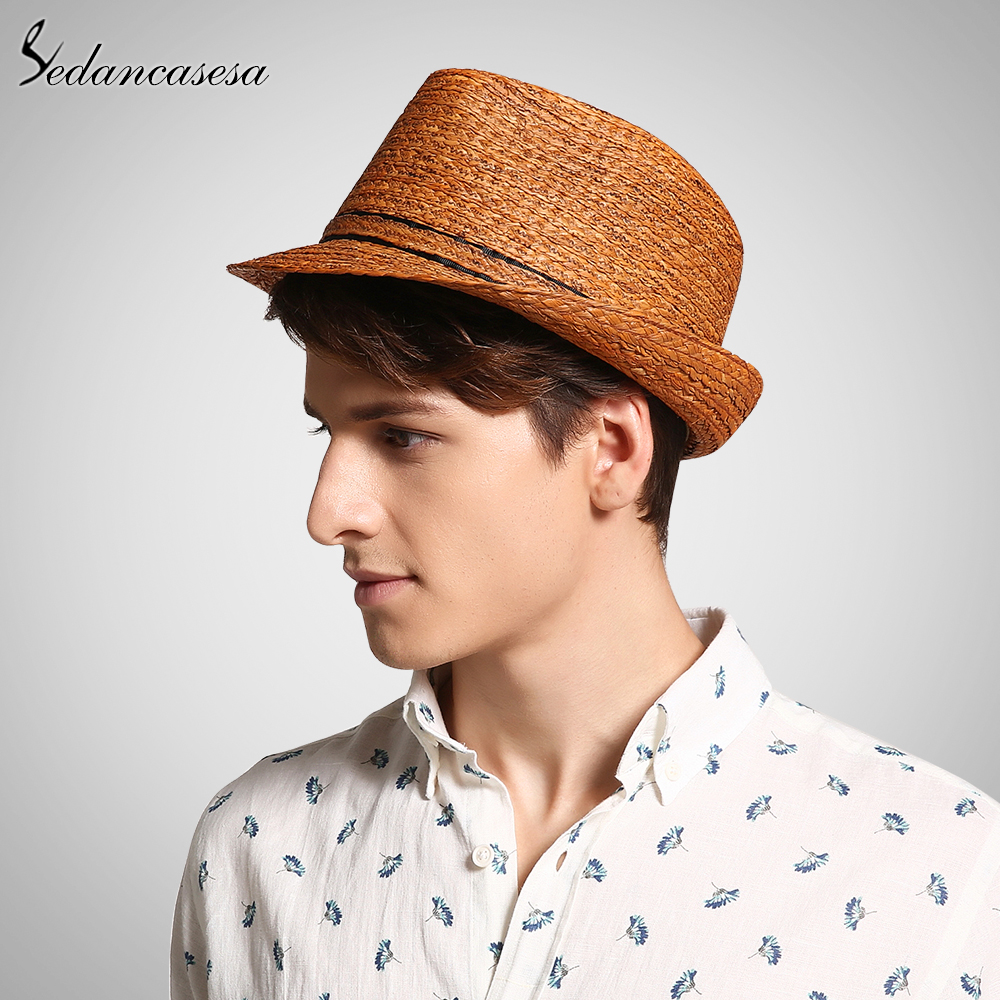 Image 2 - Classic men raffia straw hat summer UV protection sun hats for man fedora cap fashion unisex beach cap trilby holiday 57 59cm-in Men's Sun Hats from Apparel Accessories