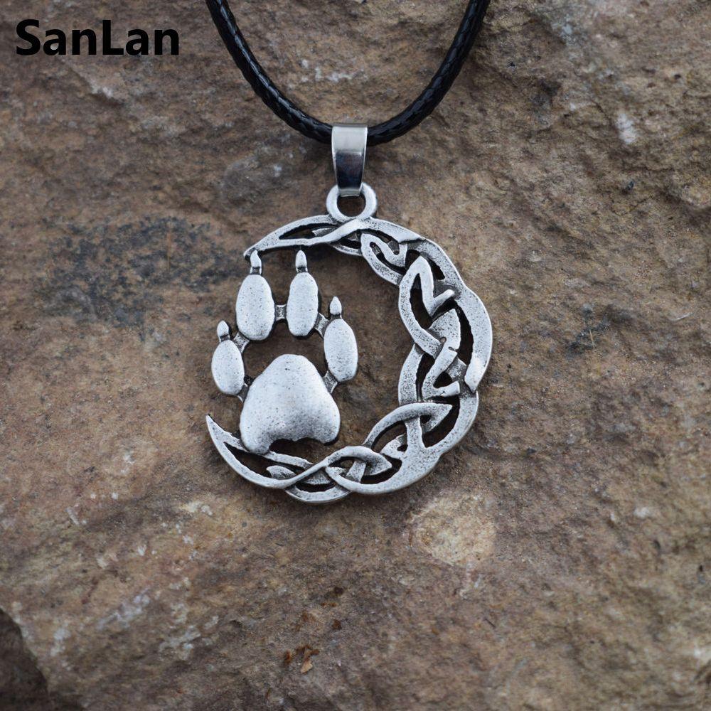 SanLan Nordischen Viking oder Wikinger oder Celtico Stil Verknotet Bärentatze halskette männer Mythologie Tier Geist