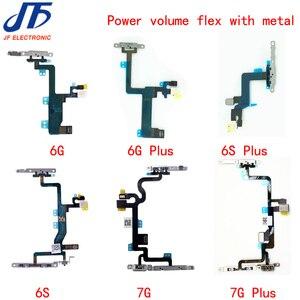 Image 1 - 10 قطعة الطاقة الكابلات المرنة استبدال ل فون 6G 6 زائد 6s 6 S زائد 7g 7 زائد على قبالة حجم زر مع حامل معدني أجزاء