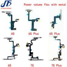 10 adet Güç Flex Kablo Değiştirme iPhone 6G 6 artı 6s 6 S artı 7g 7 artı Kapalı ses Düğmesi Ile metal braket Parçaları