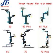 10 stücke Power Flex Kabel Ersatz für iPhone 6G 6 plus 6s 6 S plus 7g 7plus On Off volumen Taste Mit Metall Halterung Teile