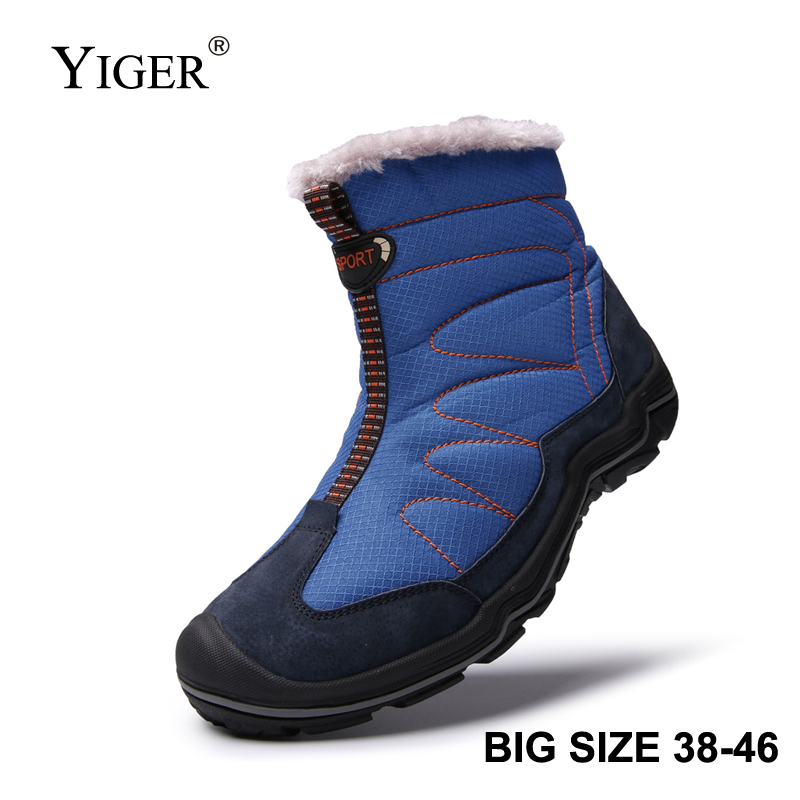 YIGER New Men Snow Boots Winter Man Cotton Shoes Zipper Large Size 38-46 Men Leisure Hiking Shoes Waterproof Non-slip Casual 223