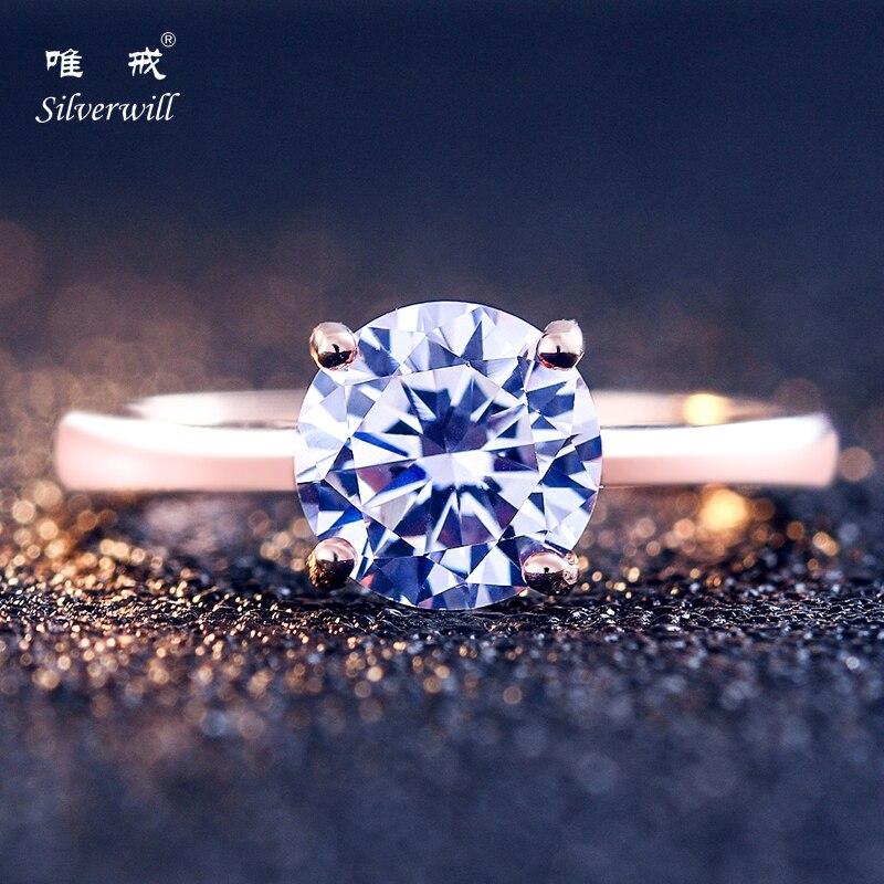 Silverwill éblouissante sterling 925 argent 2ct bague solitaire en or rose bague de fiançailles pour le seul et unique cadeau d'amour pour les femmes