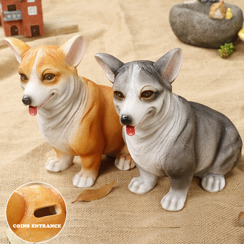 Money Boxes Cute Corgi Puppy Money Box Coin Penny Piggy Bank Collectible Saving Box Kids Friends Birthday Gift Home Decorative Ornament Easy To Use