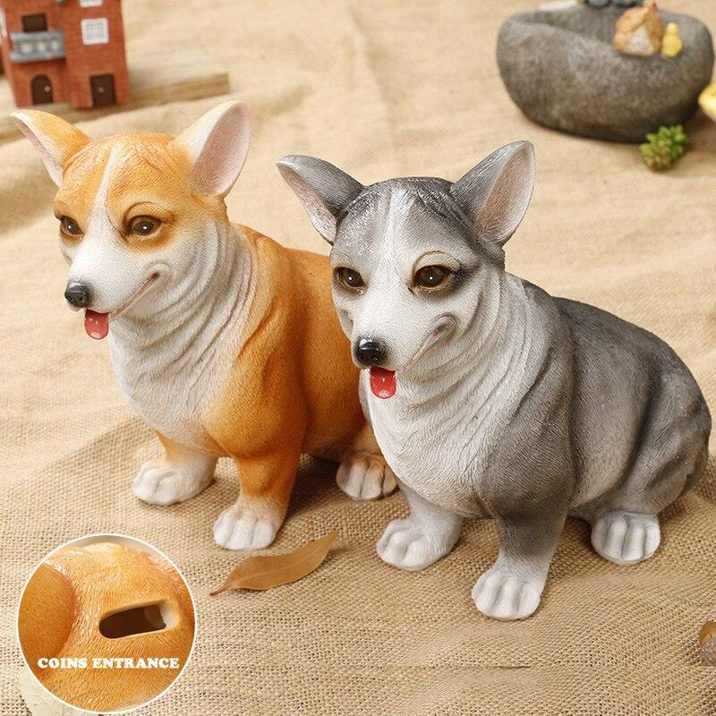 Cute Corgi Puppy Money Box Coin Penny Piggy Bank Collectible Saving Box Kids Friends Birthday Gift Home Decorative Ornament