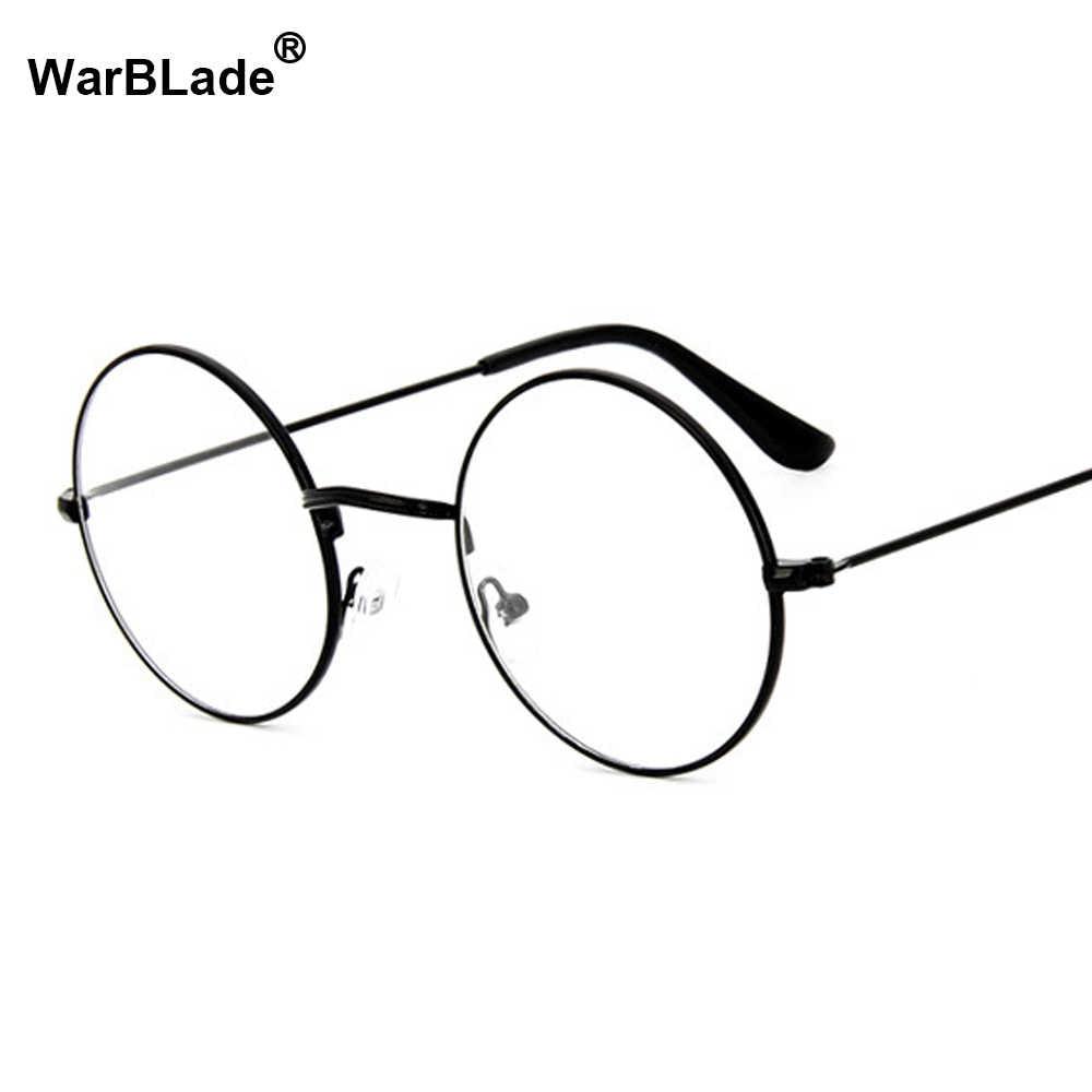 3671cc4deb00 Women Vintage Glasses Frame Plain Mirror Big Round Metal Optical Frame For  Girl Eyeglass Clear Lens