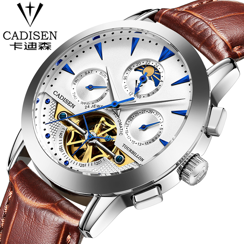 Relogio Masculino 2016 cadisen Men's Luxury Brand Military Mechanical Watches Leather Hollow Skeleton Watch Relojes Hombre relogio masculino 2017 forsining men s luxury brand military automatic mechanical watches leather watch relojes hombre