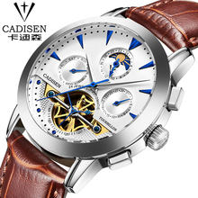 Relogio Masculino 2016 cadisen Men's Luxury Brand Military Mechanical Watches Leather Hollow Skeleton Watch Relojes Hombre